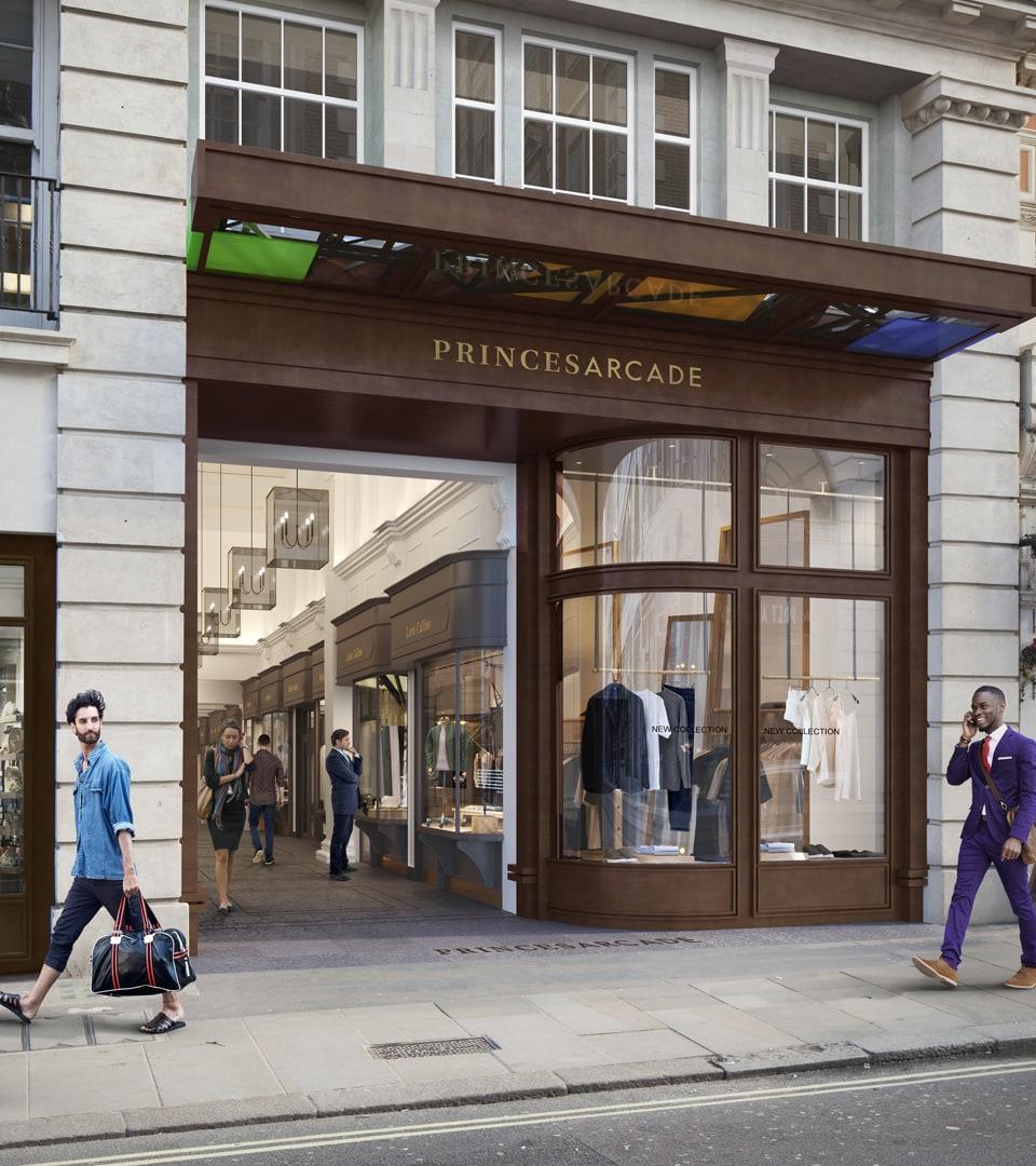 property branding for princes arcade London - cgi